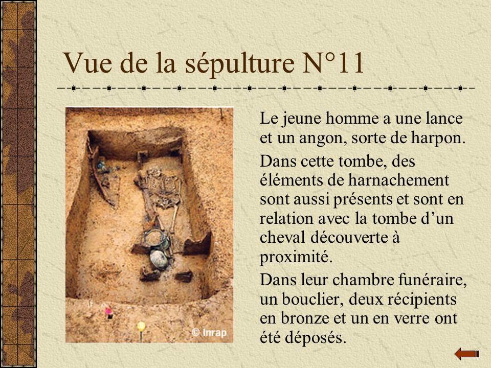 Vue de la sépulture N°11 Le jeune homme a une lance et un angon, sorte de harpon. Dans cette tombe, des éléments de harnachement sont aussi présents e