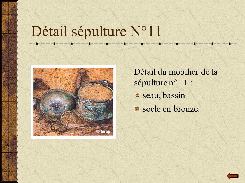 Détail sépulture N°11 Détail du mobilier de la sépulture n° 11 : seau, bassin socle en bronze.