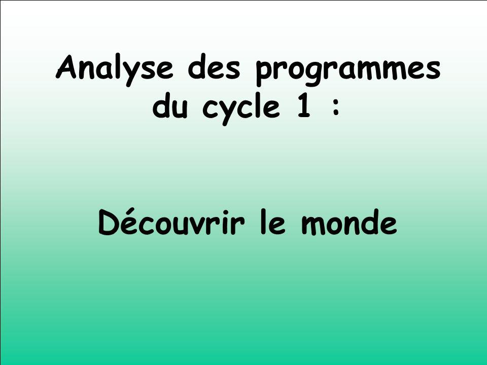 Analyse des programmes du cycle 1 : Découvrir le monde