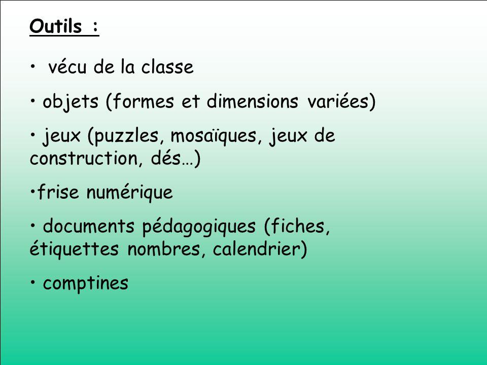 vécu de la classe objets (formes et dimensions variées) jeux (puzzles, mosaïques, jeux de construction, dés…) frise numérique documents pédagogiques (