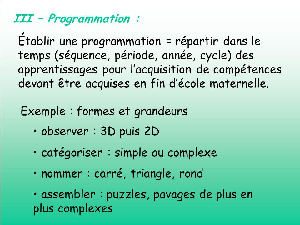 III – Programmation : Établir une programmation = répartir dans le temps (séquence, période, année, cycle) des apprentissages pour lacquisition de com