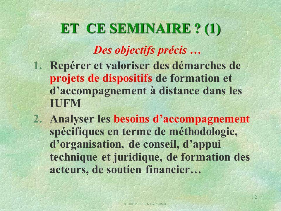 DT/SDTETIC/BDe/19et20/06/01 12 ET CE SEMINAIRE .