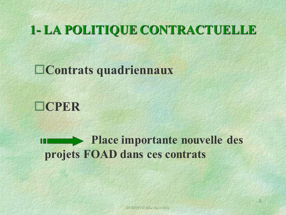 DT/SDTETIC/BDe/19et20/06/01 8 1- LA POLITIQUE CONTRACTUELLE oContrats quadriennaux oCPER Place importante nouvelle des projets FOAD dans ces contrats