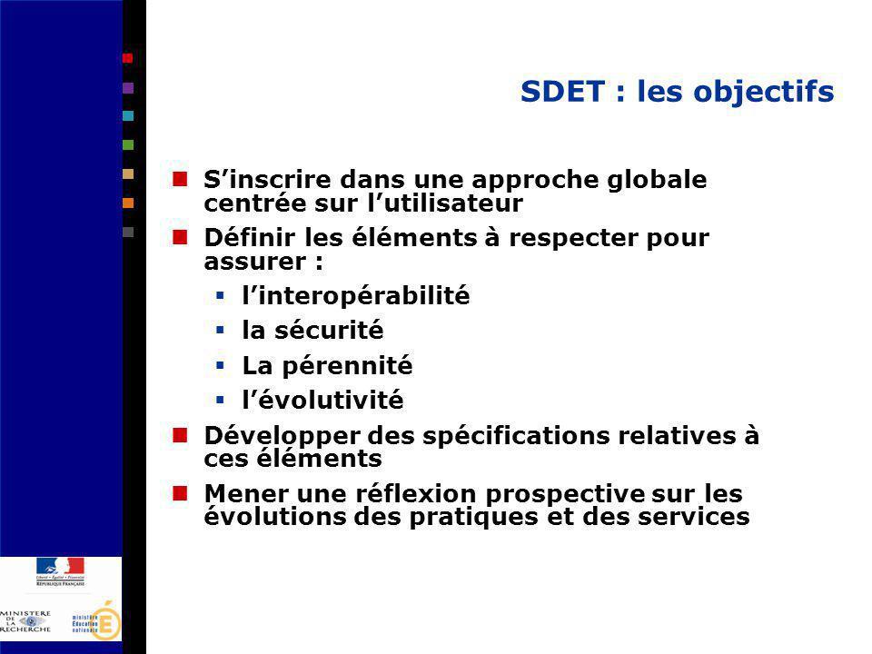 SDET : les objectifs Sinscrire dans une approche globale centrée sur lutilisateur Définir les éléments à respecter pour assurer : linteropérabilité la sécurité La pérennité lévolutivité Développer des spécifications relatives à ces éléments Mener une réflexion prospective sur les évolutions des pratiques et des services
