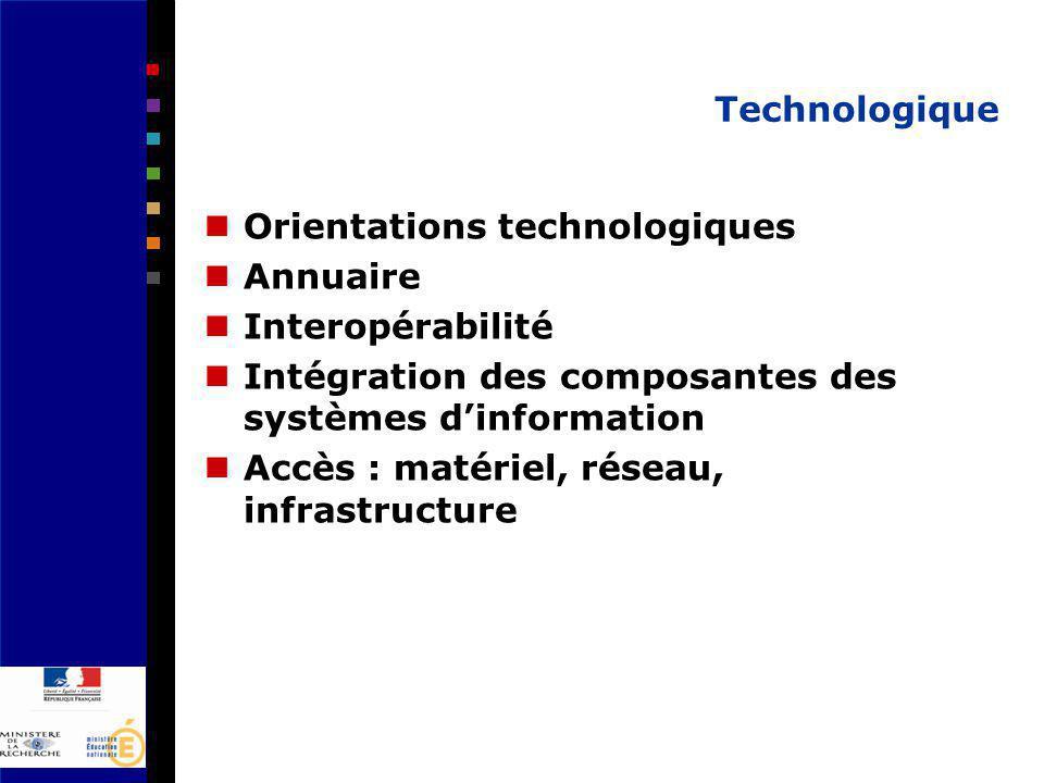 Technologique Orientations technologiques Annuaire Interopérabilité Intégration des composantes des systèmes dinformation Accès : matériel, réseau, infrastructure