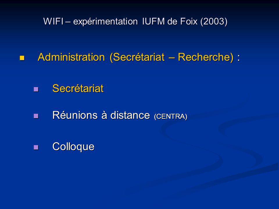WIFI – expérimentation IUFM de Foix (2003) Administration (Secrétariat – Recherche) : Administration (Secrétariat – Recherche) : Secrétariat Secrétariat Réunions à distance (CENTRA) Réunions à distance (CENTRA) Colloque Colloque