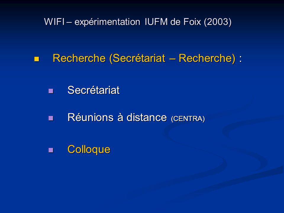 WIFI – expérimentation IUFM de Foix (2003) Recherche (Secrétariat – Recherche) : Recherche (Secrétariat – Recherche) : Secrétariat Secrétariat Réunions à distance (CENTRA) Réunions à distance (CENTRA) Colloque Colloque