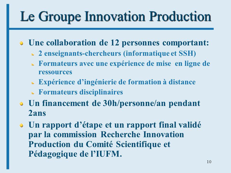 10 Le Groupe Innovation Production Une collaboration de 12 personnes comportant: 2 enseignants-chercheurs (informatique et SSH) Formateurs avec une ex