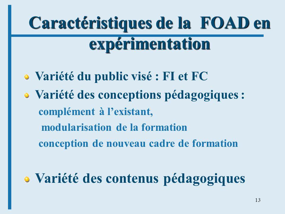 13 Caractéristiques de la FOAD en expérimentation Variété du public visé : FI et FC Variété des conceptions pédagogiques : complément à lexistant, modularisation de la formation conception de nouveau cadre de formation Variété des contenus pédagogiques