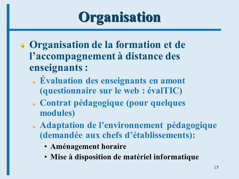 15 Organisation Organisation de la formation et de laccompagnement à distance des enseignants : Évaluation des enseignants en amont (questionnaire sur