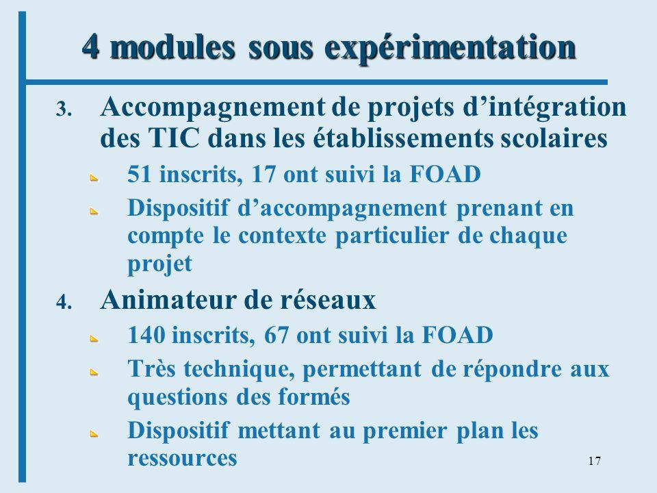 17 4 modules sous expérimentation 3. Accompagnement de projets dintégration des TIC dans les établissements scolaires 51 inscrits, 17 ont suivi la FOA