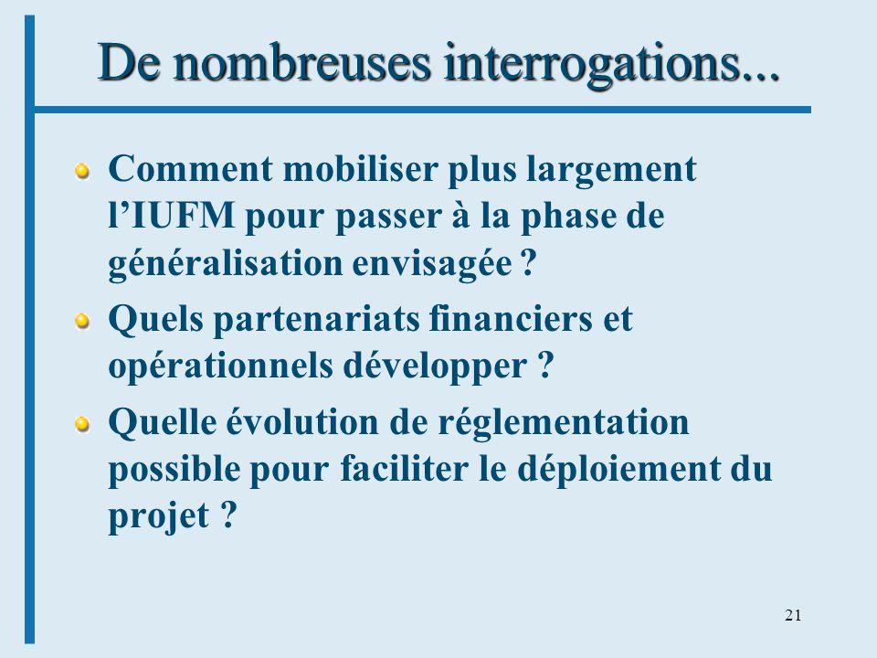 21 De nombreuses interrogations... Comment mobiliser plus largement lIUFM pour passer à la phase de généralisation envisagée ? Quels partenariats fina