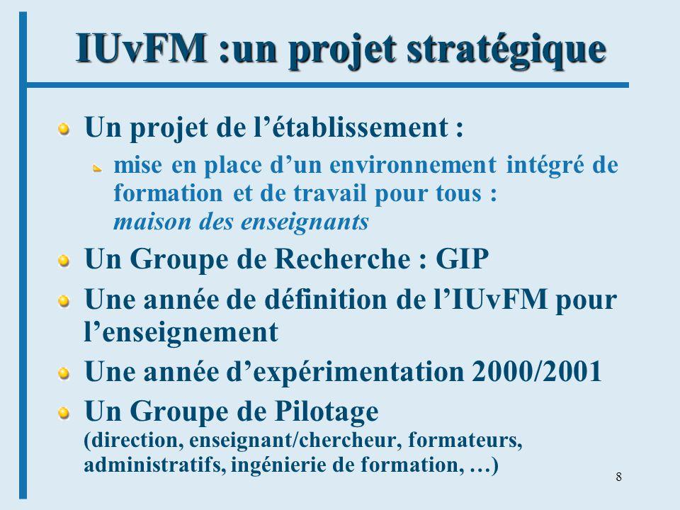 8 IUvFM :un projet stratégique Un projet de létablissement : mise en place dun environnement intégré de formation et de travail pour tous : maison des