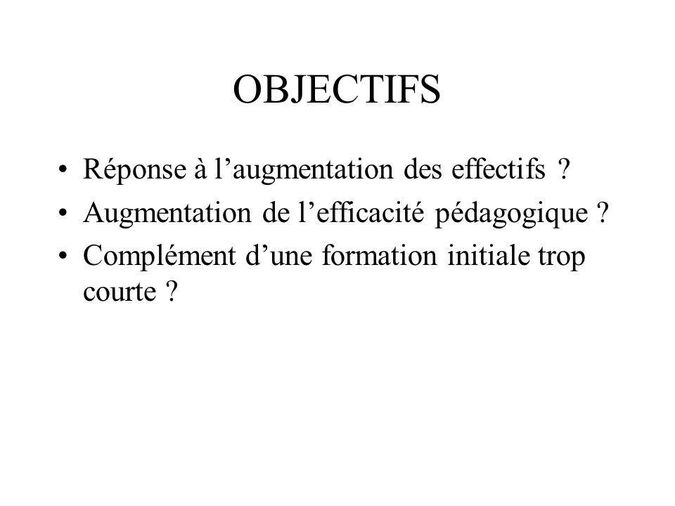 OBJECTIFS Réponse à laugmentation des effectifs . Augmentation de lefficacité pédagogique .