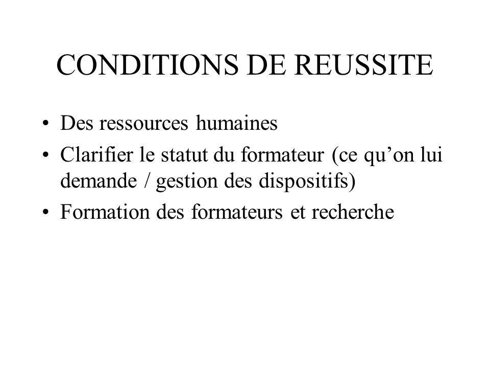 CONDITIONS DE REUSSITE Des ressources humaines Clarifier le statut du formateur (ce quon lui demande / gestion des dispositifs) Formation des formateurs et recherche