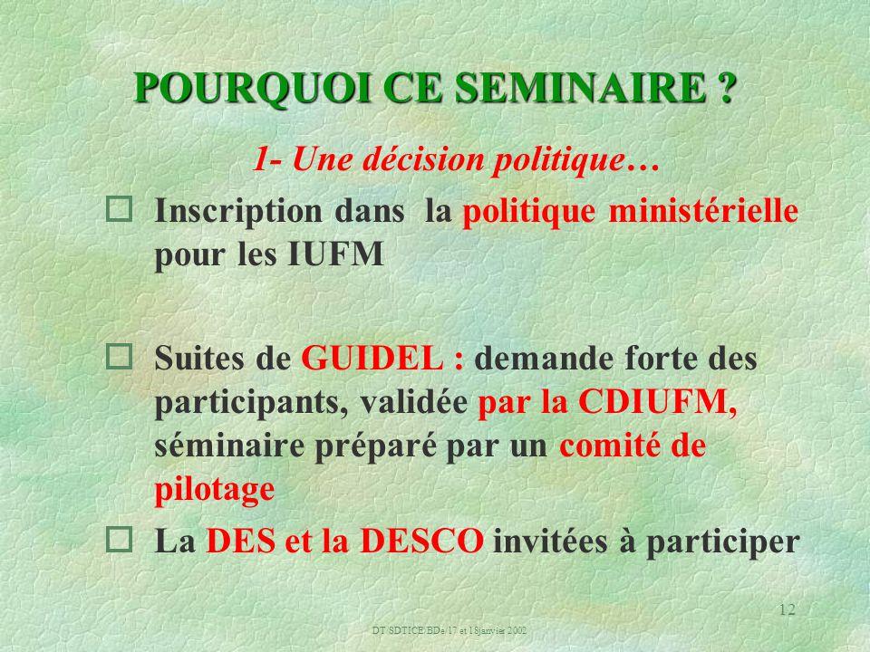 DT/SDTICE/BDe/17 et 18janvier 2002 12 POURQUOI CE SEMINAIRE .