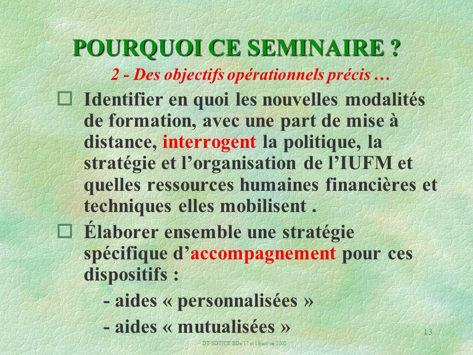 DT/SDTICE/BDe/17 et 18janvier 2002 13 POURQUOI CE SEMINAIRE .