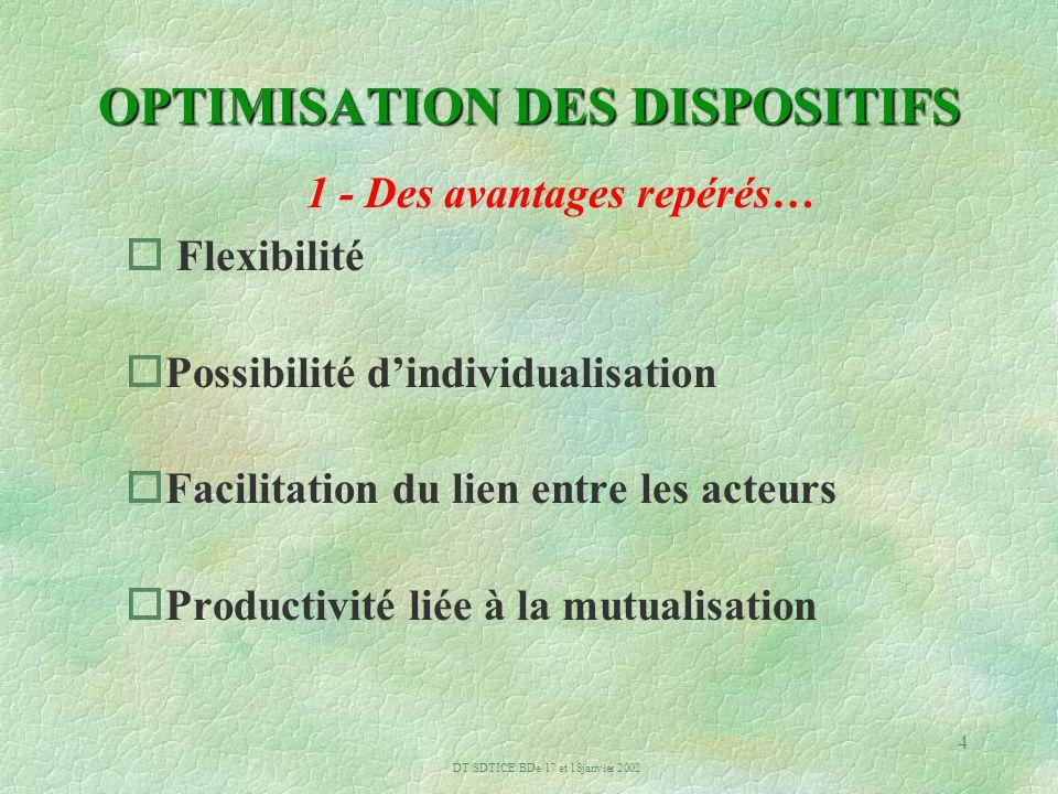 DT/SDTICE/BDe/17 et 18janvier 2002 4 OPTIMISATION DES DISPOSITIFS 1 - Des avantages repérés… o Flexibilité oPossibilité dindividualisation oFacilitation du lien entre les acteurs oProductivité liée à la mutualisation