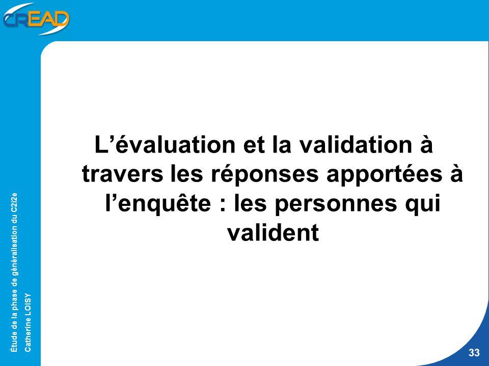 Étude de la phase de généralisation du C2i2e Catherine LOISY 33 Lévaluation et la validation à travers les réponses apportées à lenquête : les personnes qui valident