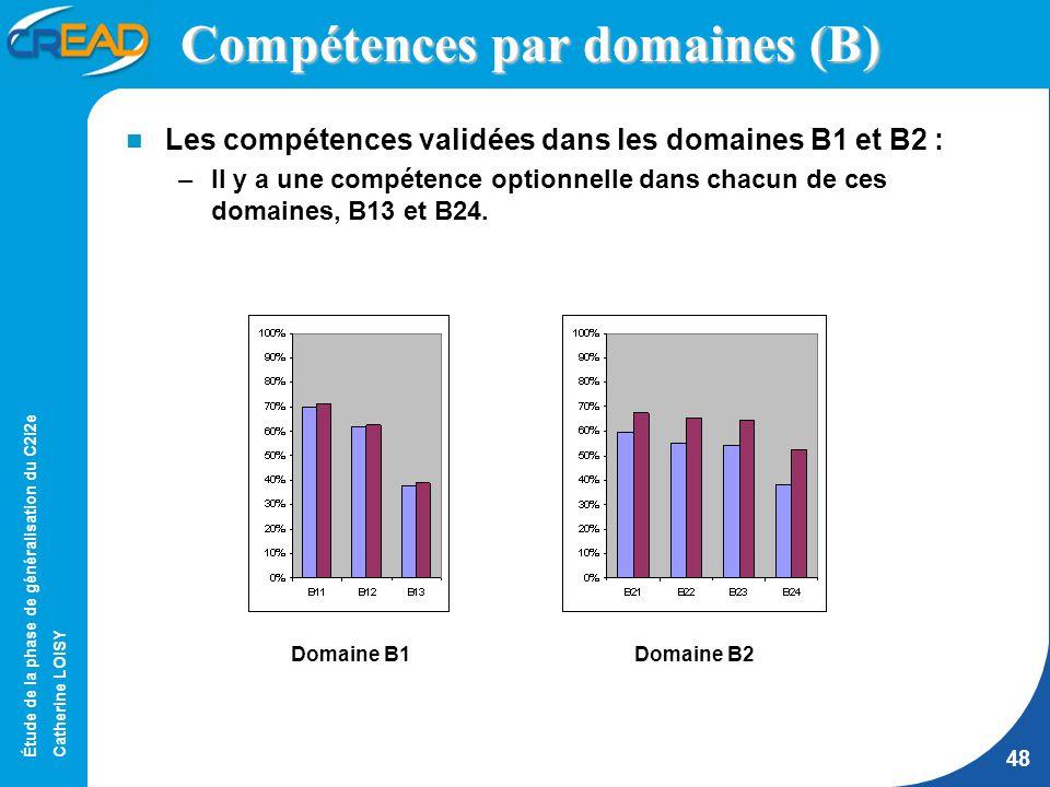 Étude de la phase de généralisation du C2i2e Catherine LOISY 48 Compétences par domaines (B) Les compétences validées dans les domaines B1 et B2 : –Il y a une compétence optionnelle dans chacun de ces domaines, B13 et B24.