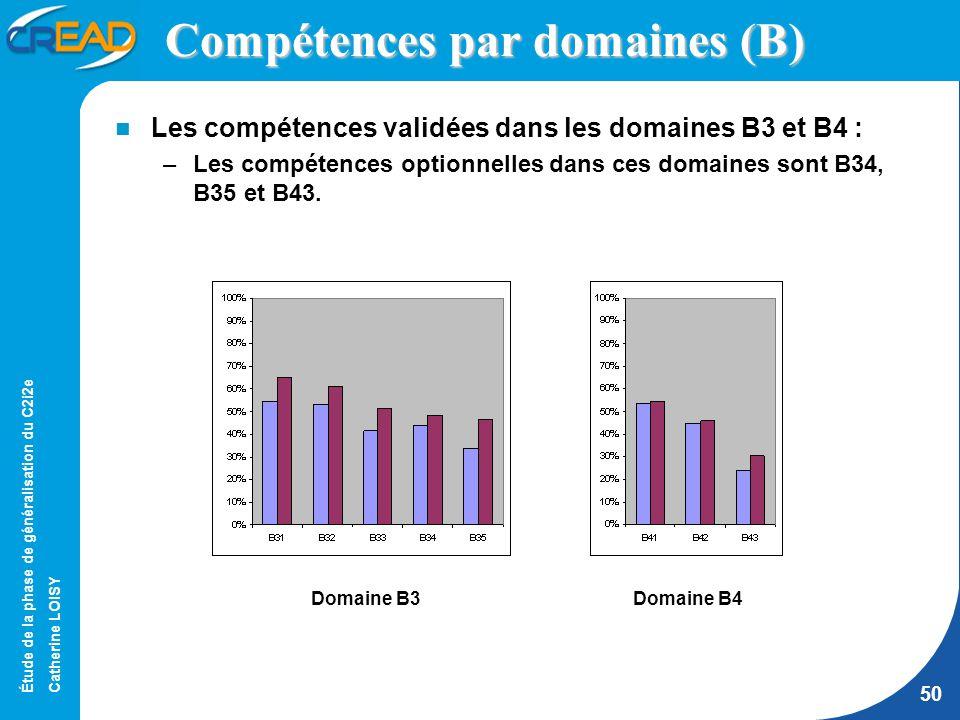 Étude de la phase de généralisation du C2i2e Catherine LOISY 50 Compétences par domaines (B) Les compétences validées dans les domaines B3 et B4 : –Les compétences optionnelles dans ces domaines sont B34, B35 et B43.