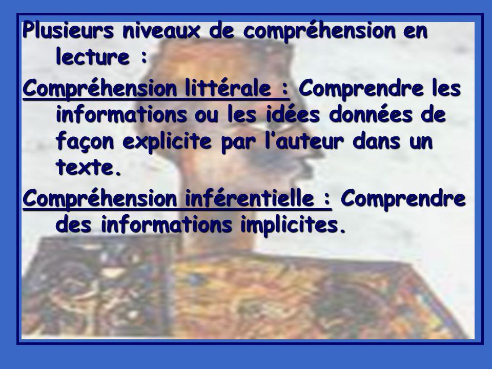 Plusieurs niveaux de compréhension en lecture : Compréhension littérale : Comprendre les informations ou les idées données de façon explicite par lauteur dans un texte.