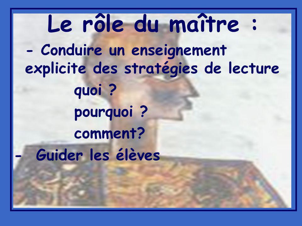 Le rôle du maître : - Conduire un enseignement explicite des stratégies de lecture quoi .