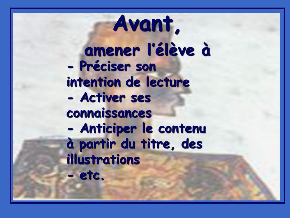 Avant, amener lélève à - Préciser son intention de lecture - Activer ses connaissances - Anticiper le contenu à partir du titre, des illustrations - etc.