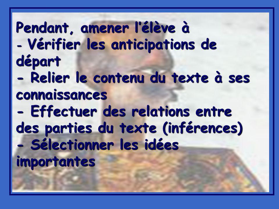 Pendant, amener lélève à - Vérifier les anticipations de départ - Relier le contenu du texte à ses connaissances - Effectuer des relations entre des parties du texte (inférences) - Sélectionner les idées importantes