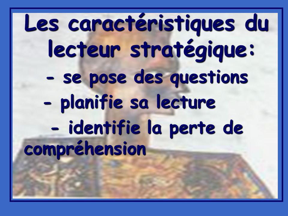 Les caractéristiques du lecteur stratégique: - se pose des questions - planifie sa lecture - identifie la perte de compréhension - identifie la perte de compréhension