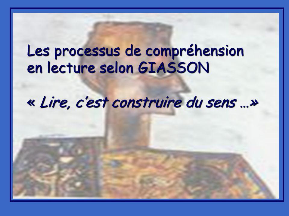 Les processus de compréhension en lecture selon GIASSON « Lire, cest construire du sens …»
