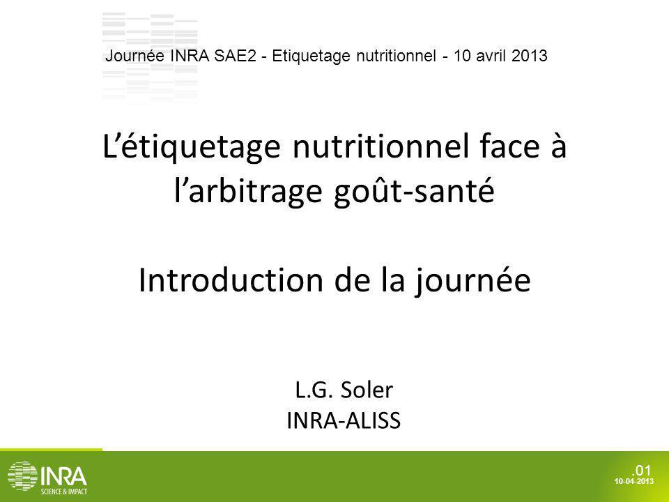 .01 10-04-2013 Létiquetage nutritionnel face à larbitrage goût-santé Introduction de la journée L.G. Soler INRA-ALISS Journée INRA SAE2 - Etiquetage n