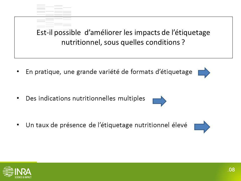 .08 Est-il possible daméliorer les impacts de létiquetage nutritionnel, sous quelles conditions ? En pratique, une grande variété de formats détiqueta