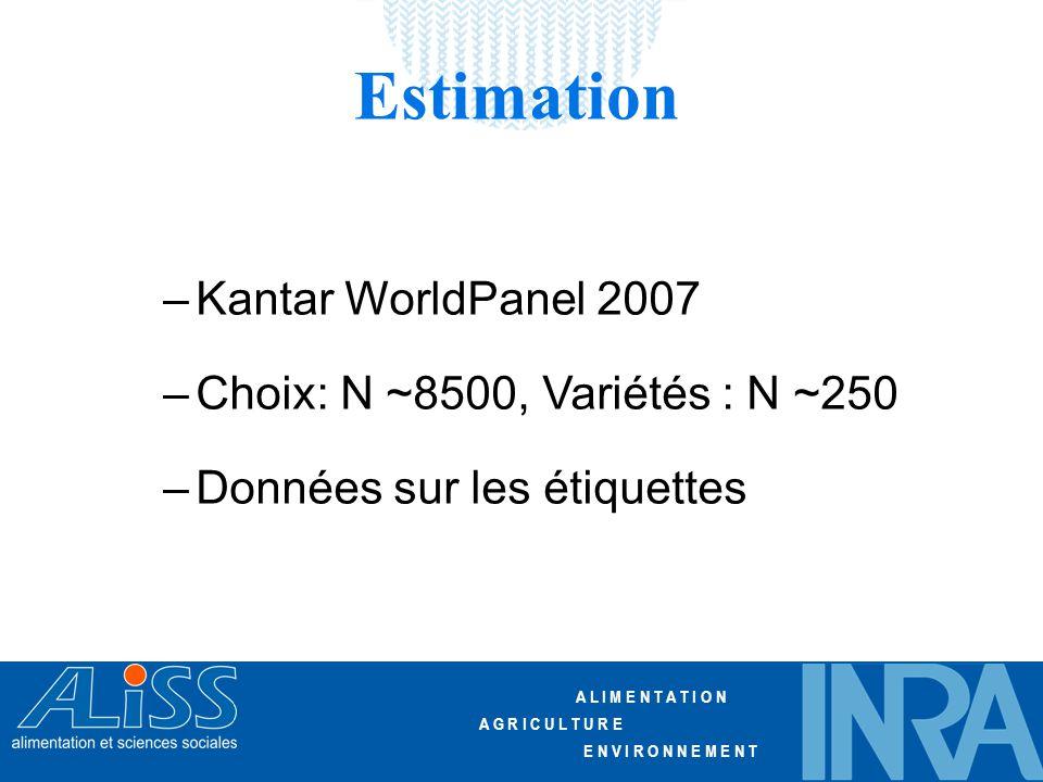 A L I M E N T A T I O N A G R I C U L T U R E E N V I R O N N E M E N T Estimation –Kantar WorldPanel 2007 –Choix: N ~8500, Variétés : N ~250 –Données sur les étiquettes