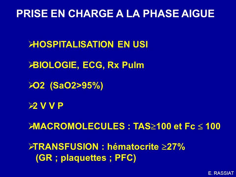 PRISE EN CHARGE A LA PHASE AIGUE HOSPITALISATION EN USI BIOLOGIE, ECG, Rx Pulm O2 (SaO2>95%) 2 V V P MACROMOLECULES : TAS 100 et Fc 100 TRANSFUSION :