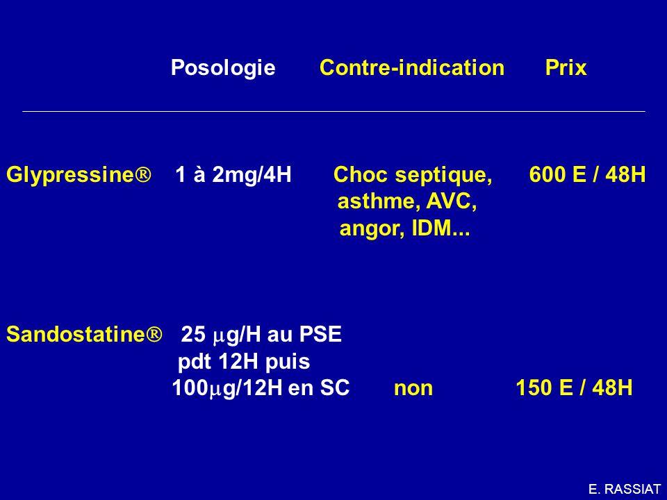 Posologie Contre-indication Prix Glypressine 1 à 2mg/4H Choc septique, 600 E / 48H asthme, AVC, angor, IDM... Sandostatine 25 g/H au PSE pdt 12H puis