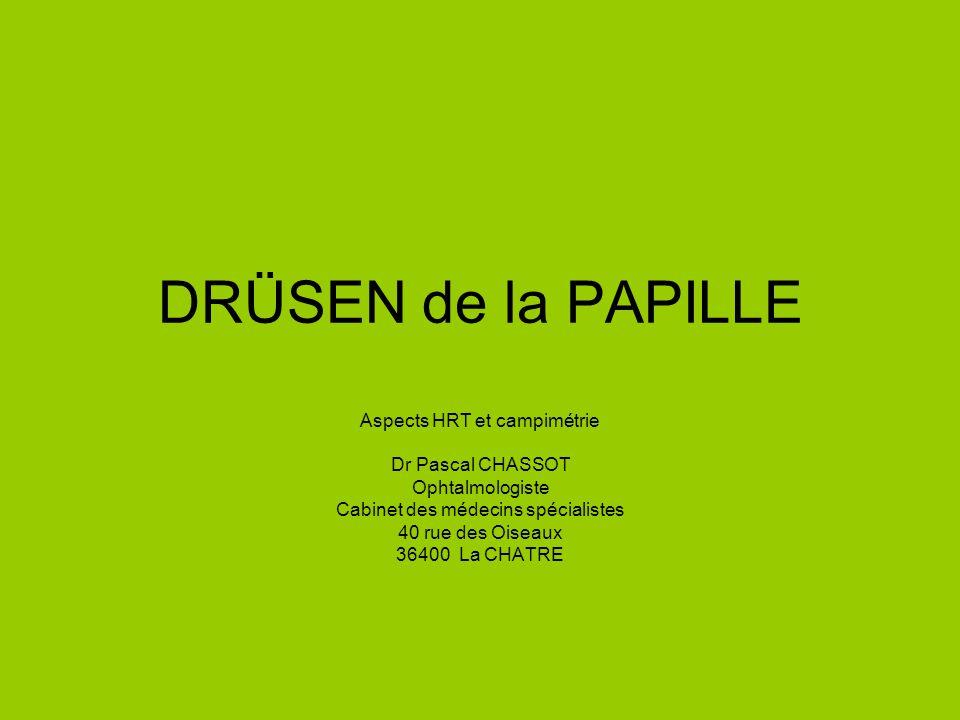 DRÜSEN de la PAPILLE Aspects HRT et campimétrie Dr Pascal CHASSOT Ophtalmologiste Cabinet des médecins spécialistes 40 rue des Oiseaux 36400 La CHATRE