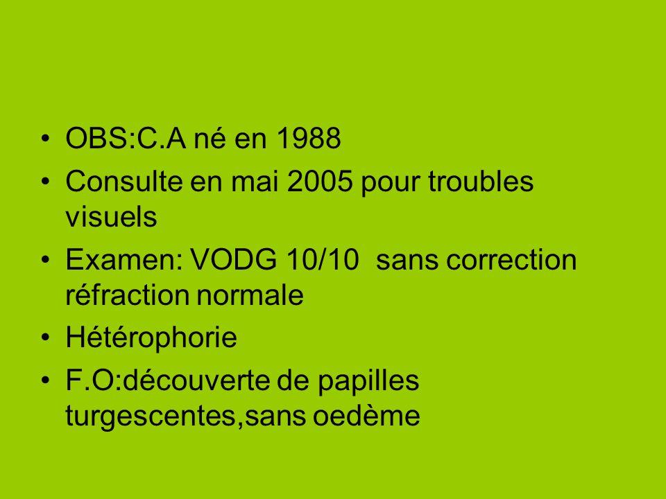 OBS:C.A né en 1988 Consulte en mai 2005 pour troubles visuels Examen: VODG 10/10 sans correction réfraction normale Hétérophorie F.O:découverte de pap