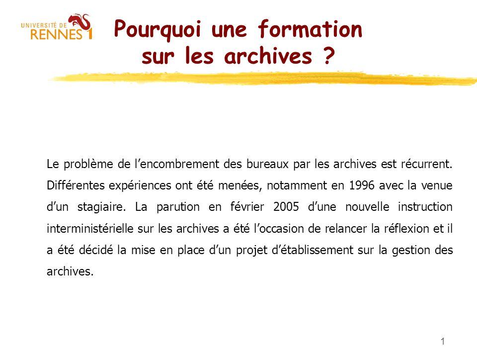 1 Pourquoi une formation sur les archives ? Le problème de lencombrement des bureaux par les archives est récurrent. Différentes expériences ont été m