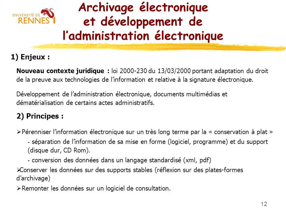 12 Archivage électronique et développement de ladministration électronique 1) Enjeux : Nouveau contexte juridique : loi 2000-230 du 13/03/2000 portant
