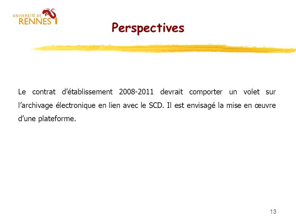 13 Perspectives Le contrat détablissement 2008-2011 devrait comporter un volet sur larchivage électronique en lien avec le SCD. Il est envisagé la mis