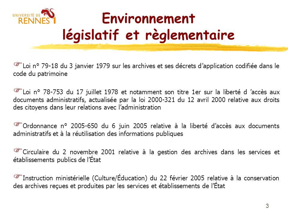 3 Environnement législatif et règlementaire F Loi n° 79-18 du 3 janvier 1979 sur les archives et ses décrets dapplication codifiée dans le code du pat