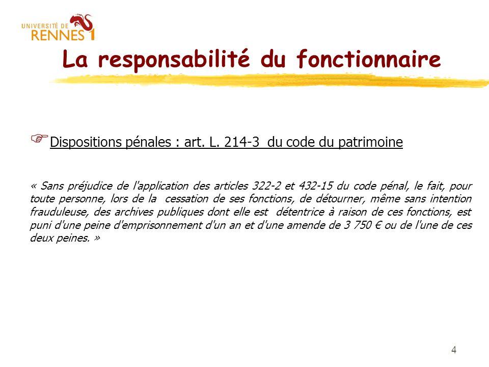 4 La responsabilité du fonctionnaire Dispositions pénales : art. L. 214-3 du code du patrimoine « Sans préjudice de l'application des articles 322-2 e