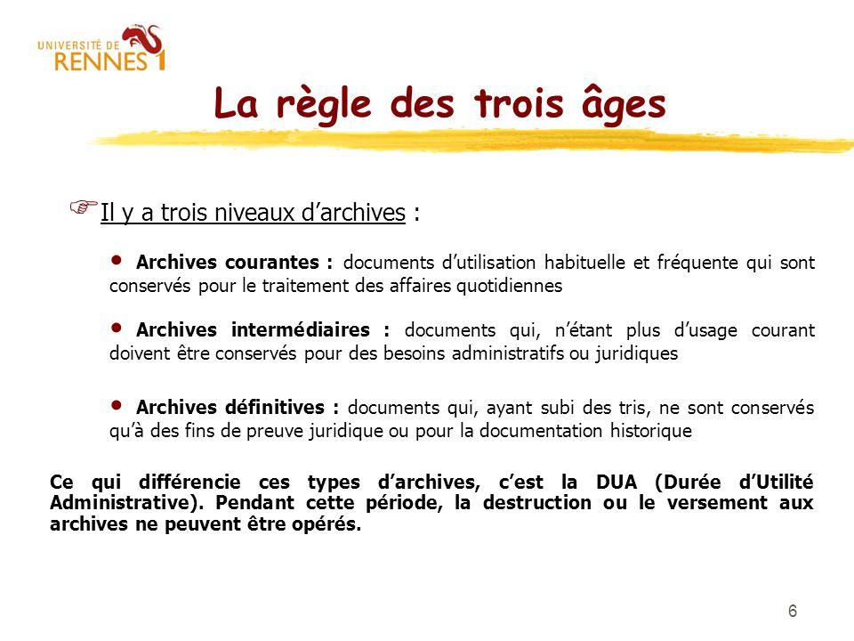 6 La règle des trois âges F Il y a trois niveaux darchives : Archives courantes : documents dutilisation habituelle et fréquente qui sont conservés po