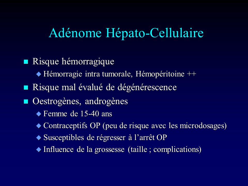 Adénome Hépato-Cellulaire n Risque hémorragique u Hémorragie intra tumorale, Hémopéritoine ++ n Risque mal évalué de dégénérescence n Oestrogènes, androgènes u Femme de 15-40 ans u Contraceptifs OP (peu de risque avec les microdosages) u Susceptibles de régresser à larrêt OP u Influence de la grossesse (taille ; complications)