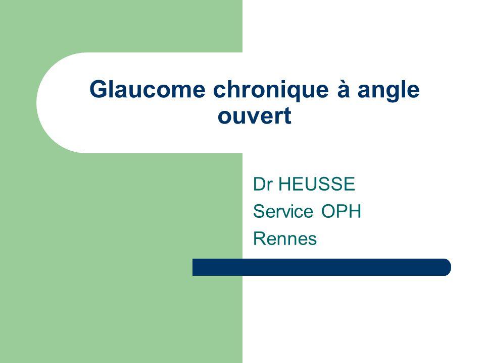 Glaucome chronique à angle ouvert Dr HEUSSE Service OPH Rennes