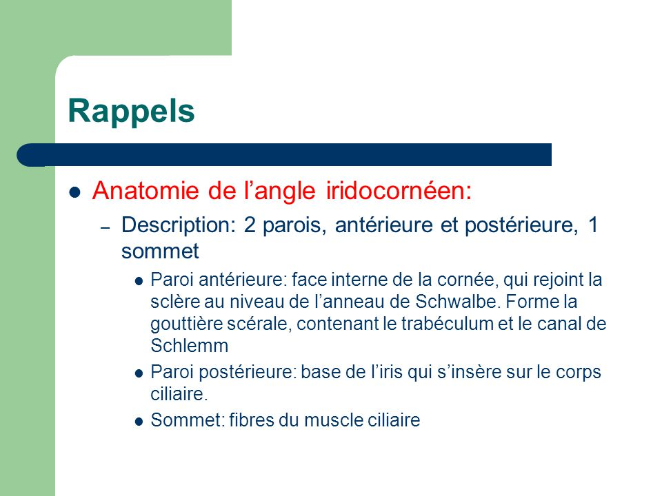Rappels Anatomie de langle iridocornéen: – Description: 2 parois, antérieure et postérieure, 1 sommet Paroi antérieure: face interne de la cornée, qui