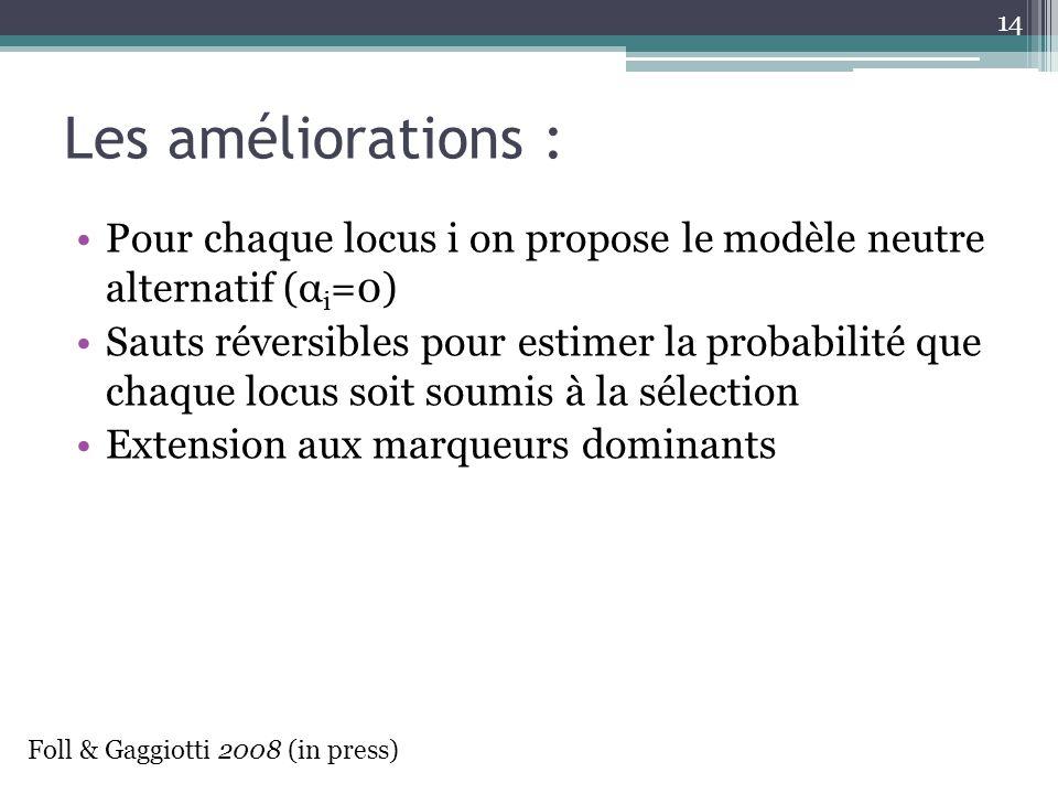 Les améliorations : Pour chaque locus i on propose le modèle neutre alternatif (α i =0) Sauts réversibles pour estimer la probabilité que chaque locus