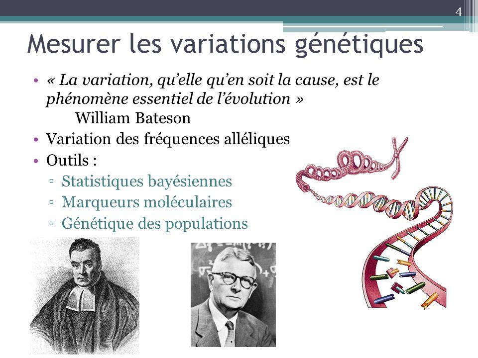 Mesurer les variations génétiques « La variation, quelle quen soit la cause, est le phénomène essentiel de lévolution » William Bateson Variation des