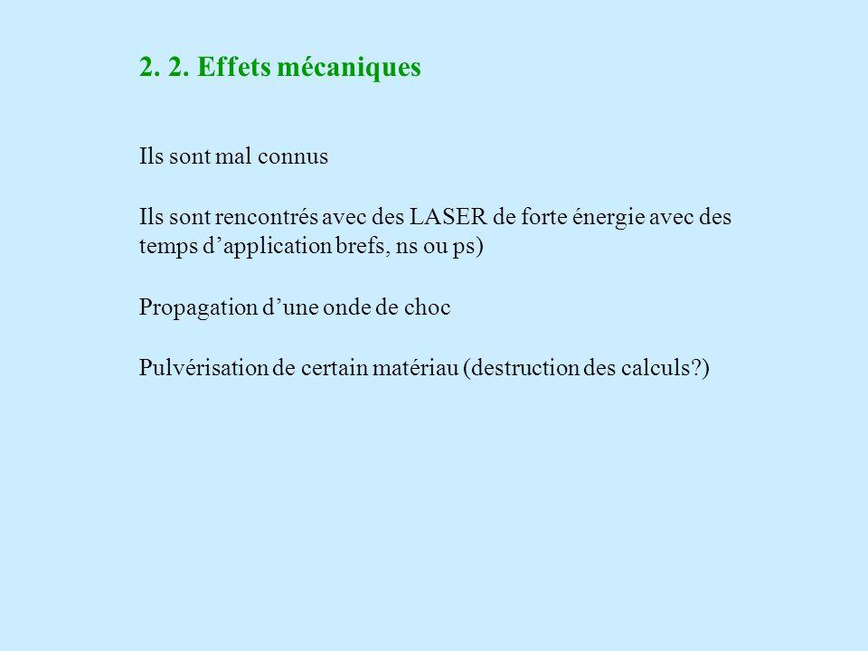 2. 2. Effets mécaniques Ils sont mal connus Ils sont rencontrés avec des LASER de forte énergie avec des temps dapplication brefs, ns ou ps) Propagati